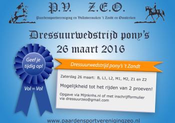 Uitslagen dressuurwedstrijd pony's 26 maart!